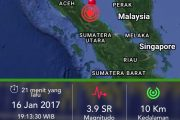 Pusat Gempa 5,6 SR di Darat Barat Daya Deli Serdang