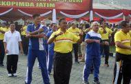 Danpasmar-1 Ikuti Olahraga Bersama di Polda Jatim