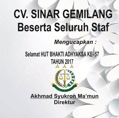 CV Sinar Gemilang Ucapkan Selamat HUT BHAKTI ADHYAKSA KE- 57