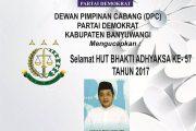 DPC Partai Demokrat Banyuwangi Ucapkan Selamat HUT BHAKTI ADHYAKSA KE- 57
