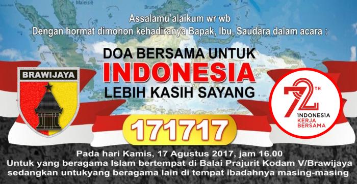 Kodam V Brawijaya Dengan Masyarakat Akan Gelar Doa Bersama 17 17 17