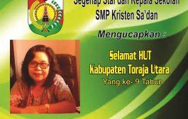 SMP Kristen Sa'dan Mengucapkan Selamat HUT Kabupaten Torut Yang ke 9