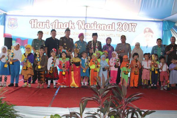 Danlanal Tegal Hadiri Peringatan Hari Anak Nasional Di Gor Wisanggeni